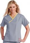 Pijama Sanitario Mujer Gris Linea Amarilla