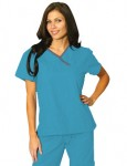 Uniforme Sanitario Mujer Azul Turquesa Linea Gris
